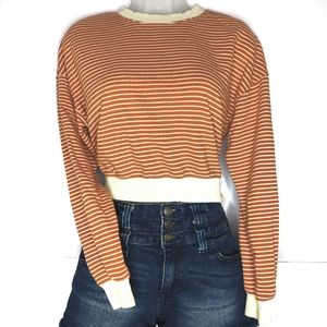 Forever 21 striped cropped sweatshirt